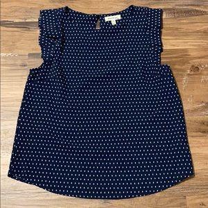 MONTEAU print ruffle blouse